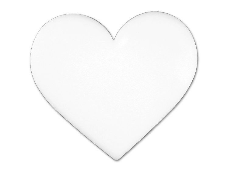 Opaque White Heart Glass Design Large